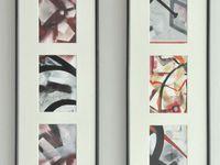 7 Triptyques - technique mixte sur papier - 2012 - pour chaque triptyque : 3x(9,5x14,5) et cadre de 20,5x60,5. Ces triptyques proposent deux approches différentes : une horizontale et une verticale.