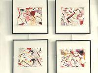 Sans titre - technique mixte ( avec collages) sur papier - 2010 - 2011  -20x16 cms / cadre 30x30 . C'est le début d'un travail réalisé à partir de rebuts de la vie quotidienne : emballages, magazines ....