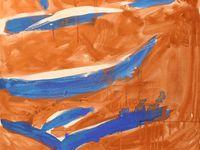 """Exposition Poésie et Peinture de France. """"La sirène"""", triptyque, mixte sur toile, 3m x 1m"""