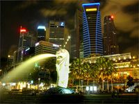 La  Statue de Merlion de Singapour-the  Singapore Merlion statue