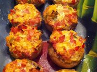 Champignons farcis bacon/oignon/poivrons dukan