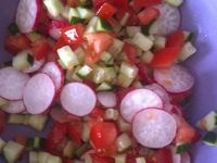 Salade langues d'oiseaux, jambon fumé et mozzarella