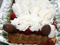 Gâteau chocolat blanc framboises pistaches