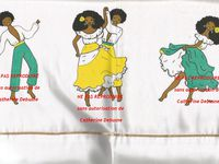 Parure de draps pour lit d'enfant. Taie et drap de dessus. Folklore de la Réunion.