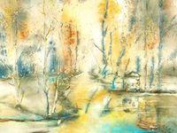 aquarelles paysages, bouquet, reflets
