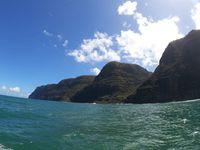 Na Pali Coast vue du zodiac, ainsi que nos superbes rencontres de la journée !