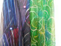 Écharpes en mousseline de soie,peints a la main,batik a la cire,175 x 55 cm