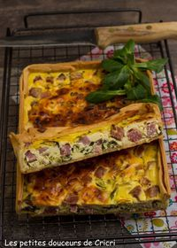 Tarte salée au jambon gruyère et mâche