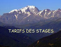 TARIFS DES STAGES