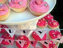 Cupcake pralines roses et vanille en dégradé de rose