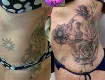 Cover-up Old Tattoo Sun with flowers and skull