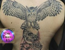 owl-skull-flowers-tattoo