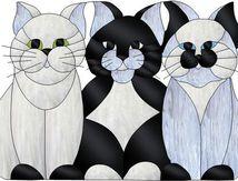Vitrail ' Trois chats '