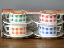 Lot de 4 tasses Arcopal Vichy emballées Années 70 - Vintage