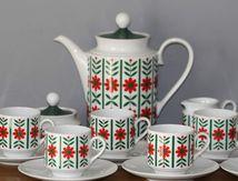 Service à café Bavaria rouge et vert Années 70 - Vintage