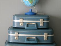 lot de 3 valises Bleues Hôtesse de l'air Années 70 - Vintage