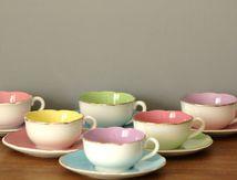 Lot de 6 tasses de couleur Digoin Sarreguemines Années 60 - Vintage