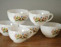 Tasses à café arcopal décor oiseaux Années 70 - Vintage