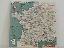 Carte la France par département Biscuits Poult Mautauban Années 60 - Vintage