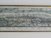 Tableau avec gravure de la ville de Marseille collection particulière de la Société Marseillaise de crédit Vintage