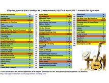 Playlist bal country à Chateauneuf animé par Sylvaine le 9/04/2017