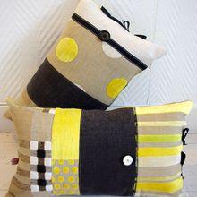 Coussins bohèmes lin, jaunes et gris