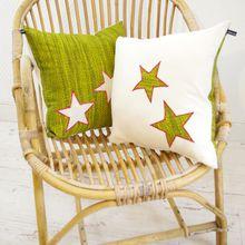 Coussins carrés verts et blancs à étoiles