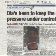 My 10K run for charity featured in local press