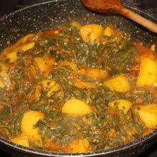 Epinards et pommes de terre à l'indienne