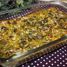 Gratin vegan de kale au potimarron avec des p'tites graines dessus