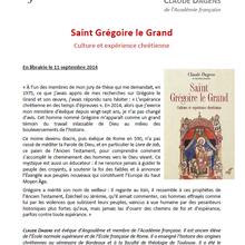 Livre de Mgr Dagens : SAINT GRÉGOIRE LE GRAND. Culture et expérience chrétiennes