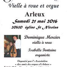 """Concert """"vielle à roue et orgue"""" le 21 mai à ARLEUX (Nord)"""