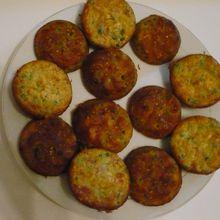Muffins salés : petits pois, oeuf, jambon, gruyère, farine, beurre, crème