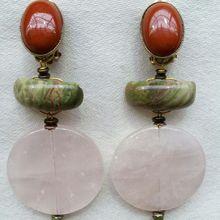 Création boucles d'oreilles en quartz rose et agate.