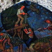 Une fresque sur les scieurs de long