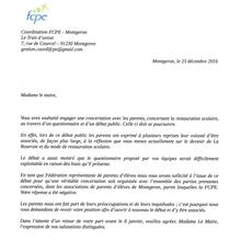 Restauration scolaire de Montgeron:  le courrier de la FCPE à Mme Carillon et sa réponse