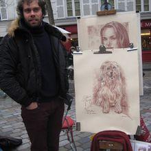 Stéphane Plouviez, portraitiste-caricaturiste à Montmartre.