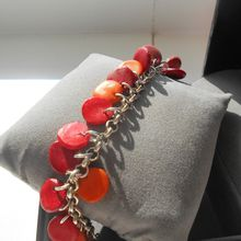 bracelet orange et rouge, breloque fimo