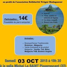 Bretagne : Grande soirée au profit de Solidarite tregor madagascar le 3 Octobre 2015