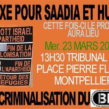 Stop à la criminalisation du BDS ! Relaxe pour Saadia et Husein