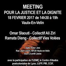 Meeting pour la justice et la dignité le 18 février 2017 à Vaulx-en-Velin (Rhône)