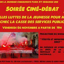Soirée Ciné-Débat - Vendredi 06 nov - Quelles luttes de la jeunesse pour mettre en échec la casse des services publics ?