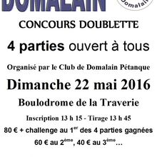 Concours Doublette, 4 parties, le 22 mai 2016