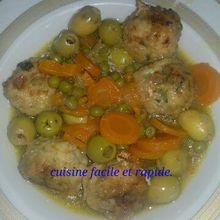 Tajine zitoune au boulette de poulet. طاجين الزيتون