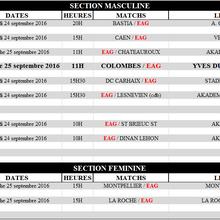 Programme des équipes, weekend du 24 et 25 septembre 2016