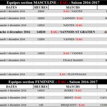 Programme des équipes, weekend du 3 et 4 décembre 2016