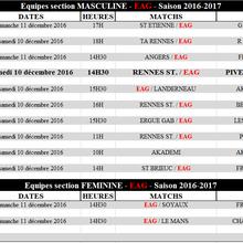Programme des équipes, weekend du 10 et 11 décembre 2016