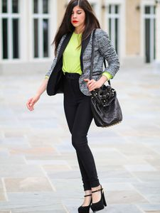 Zara Blazer and Neon Sweater