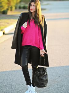 Leather Sleeves + Hot Pink