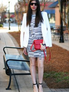 """ A X "" White Blazer and Printed Dress"